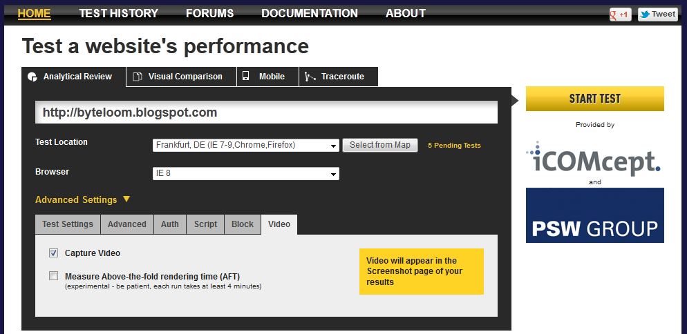 Test settings panel - video capture for page rendering