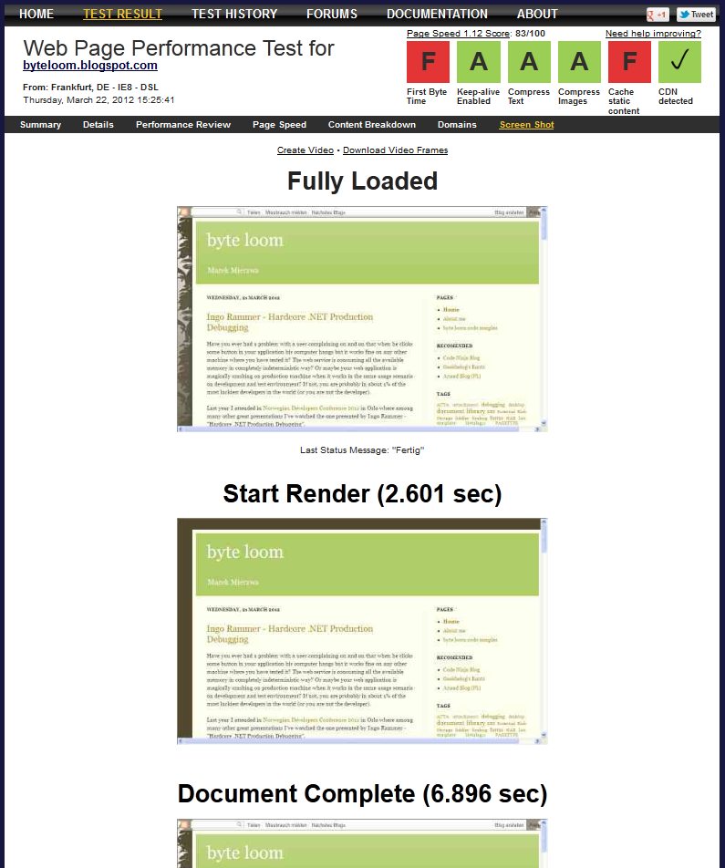 Test results - page screen shots for the next page loading steps